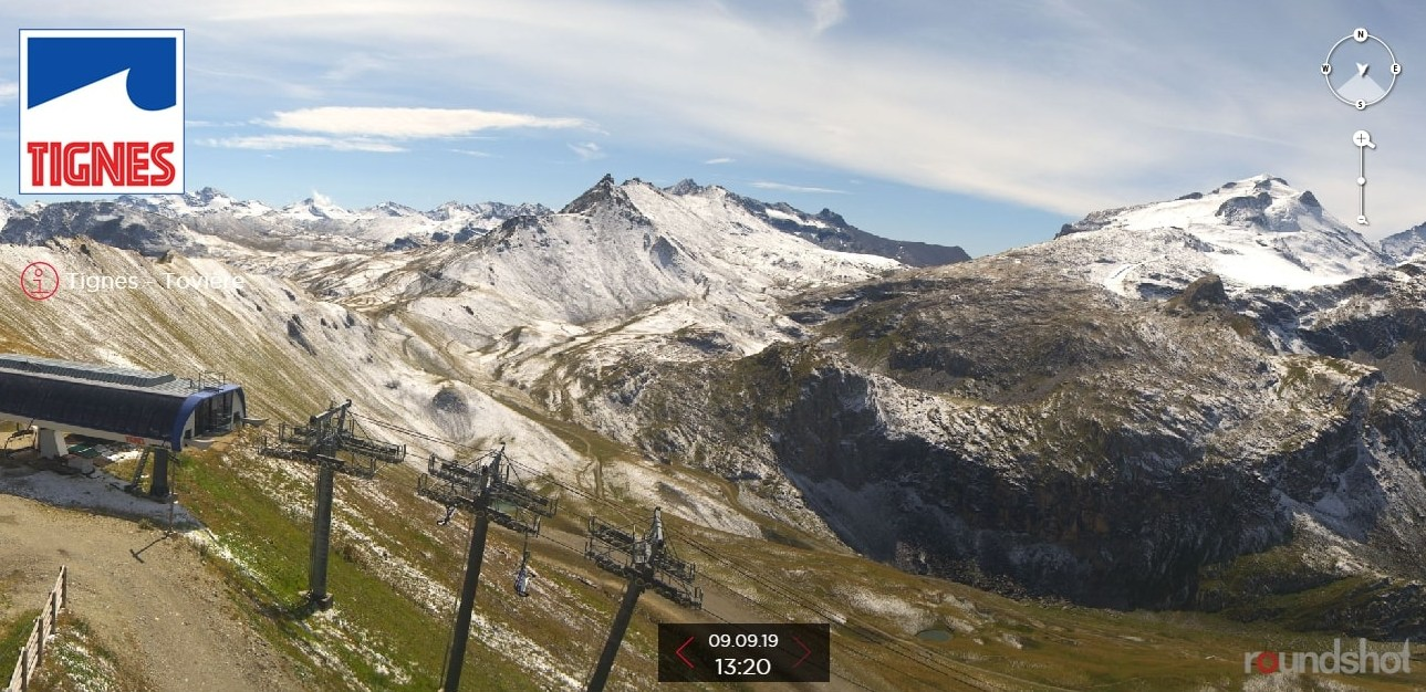 Tignes webcam 9th September 2019